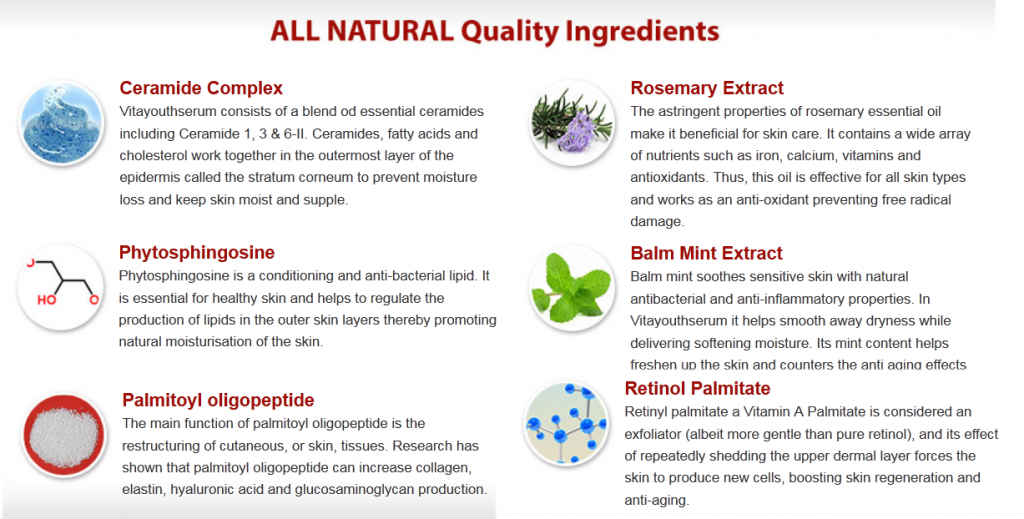 vita youth serum anti aging ingredients