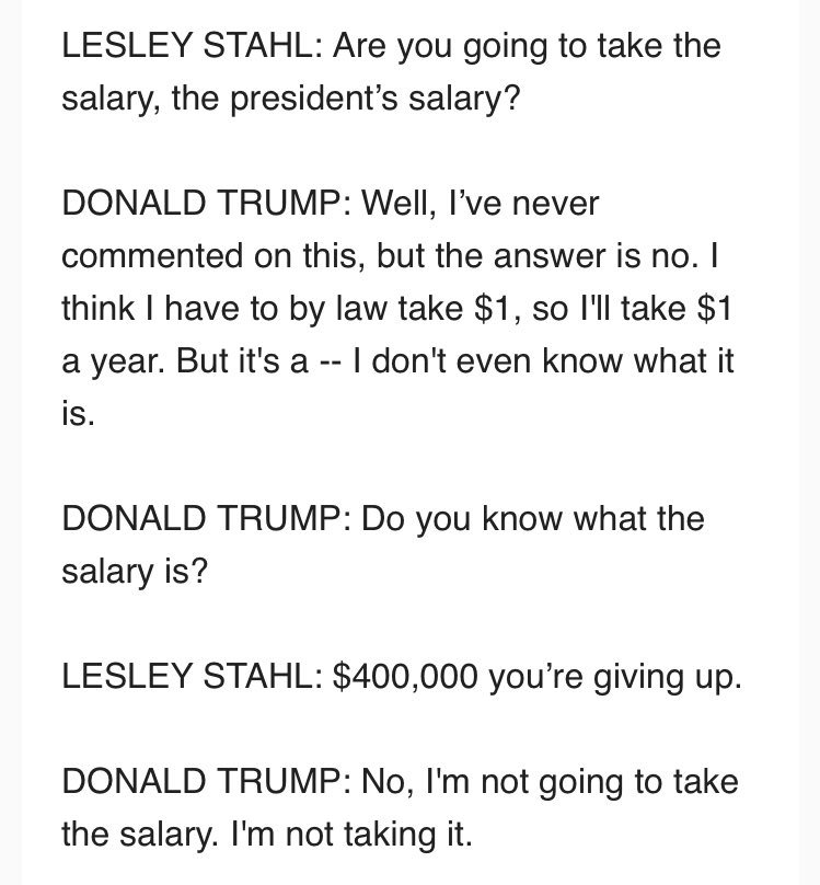 No salary, no vacations! Donald Trump