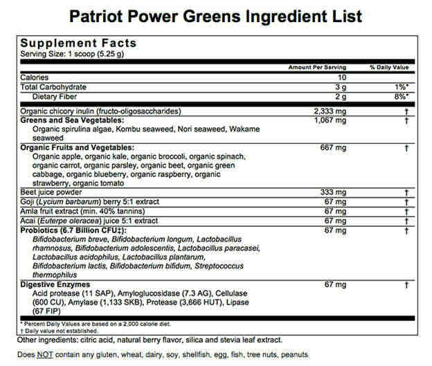 Patriot Power Greens - ingredients